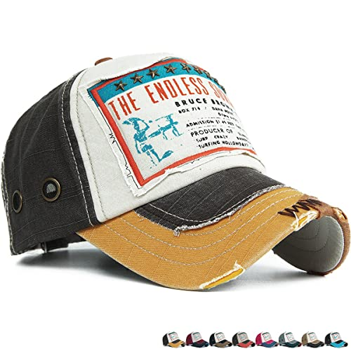 Rayna Fashion Distressed Curved Brim Trucker Hat Baseball Cap Printed Embroidered Patch
