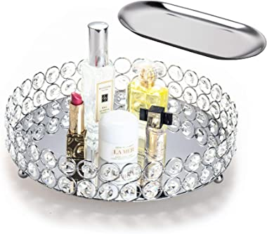 Feyarl Mirrored Crystal Vanity Makeup Round Tray Ornate Jewelry Trinket Tray Organizer Cosmetic Perfume Bottle Tray Decorativ