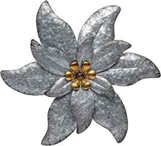 SONGXIN Galvanized Wall Flowers Silver with Gold Accents Wall Decor Metal Flowers Wall Art Decorations for Bathroom Yard H...