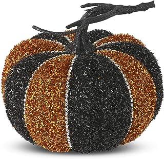 K&K Interiors 41281B-ORBK 6.25 Inch Black & Orange Tinsel Pumpkin w/Jewel Trim