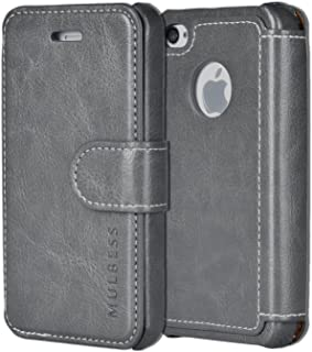 iPhone 4s Case Wallet,Mulbess [Layered Dandy][Vintage Series][Gray] - [Ultra Slim][Wallet Case] - Leather Flip Cover with Credit Card Slot for Apple iPhone 4s / iPhone 4