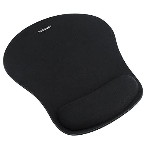 TeckNet Ergonomic Gaming Office Mouse Pad Mat Mousepad with Rest Wrist Support - Non-Slip Rubber Base - Special-Textured Surface (Black)