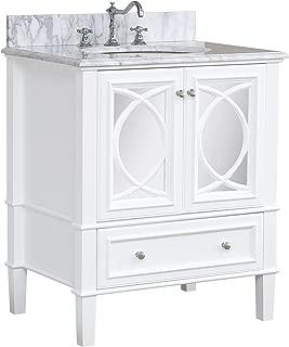 Olivia 30-inch Bathroom Vanity (Carrara/White): Includes Italian Carrara Countertop, a White Cabinet, Soft Close Drawers, and a Ceramic Sink