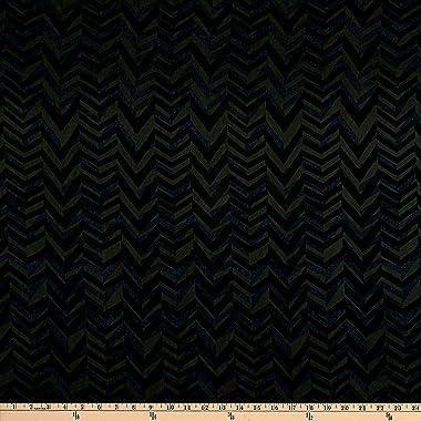 Fabric Merchants Splendid Apparel Rayon Challis Abstract Chevron Army Fabric, Black/Green