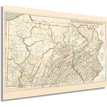 Historix Vintage 1792 Pennsylvania State Map - 24x36 Inch Pennsylvania Vintage Map Wall Art - Pennsylvania Wall Map - Map of Pennsylvania State - Vintage Pennsylvania Map - PA Wall Art (2 Sizes)
