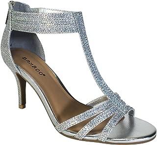 Women's Mid Heel T-Strap Dress Heel Sandal