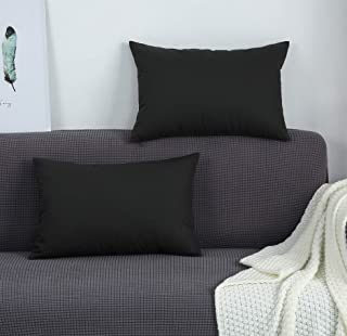 """Best TangDepot Cotton Solid Throw Pillow Covers, 12"""" x 20"""" , Charcoal Gray Review"""
