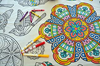 The Coloring Table - Colorable Mandala Tablecloth - Rectangle