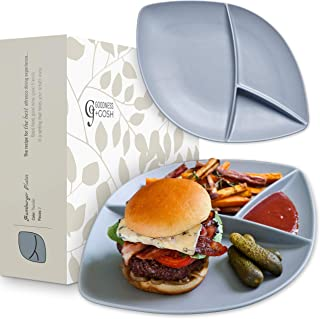 Dinnerware Set of 2 Large Divided Porcelain Burger Plates For Fries & Sauce, Stoneware Grey & White Colors, Alfresco Ceramic Mix & Match Our Entire Range For Stylish Backyard BBQ or Outdoor Parties