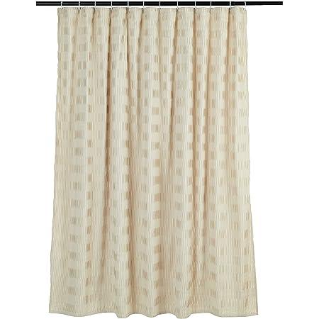 Amazon Basics Pleated Bathroom Shower Curtain - Beige, 72 Inch