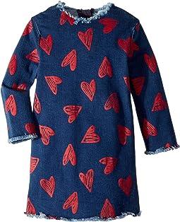 Darcey Heart Raw Edge Dress (Toddler/Little Kids/Big Kids)
