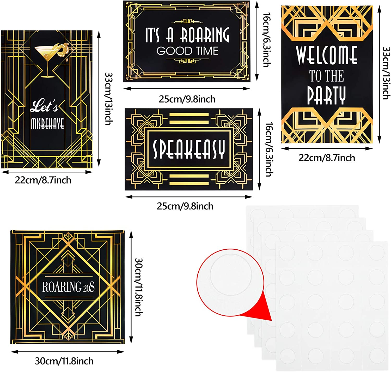 Amazon Com 15 Pieces Roaring 20s Wall Signs Roaring 20s Party Retro Jazz Party Roaring Twenties Decorations Kit 1920s Party Supplies Toys Games