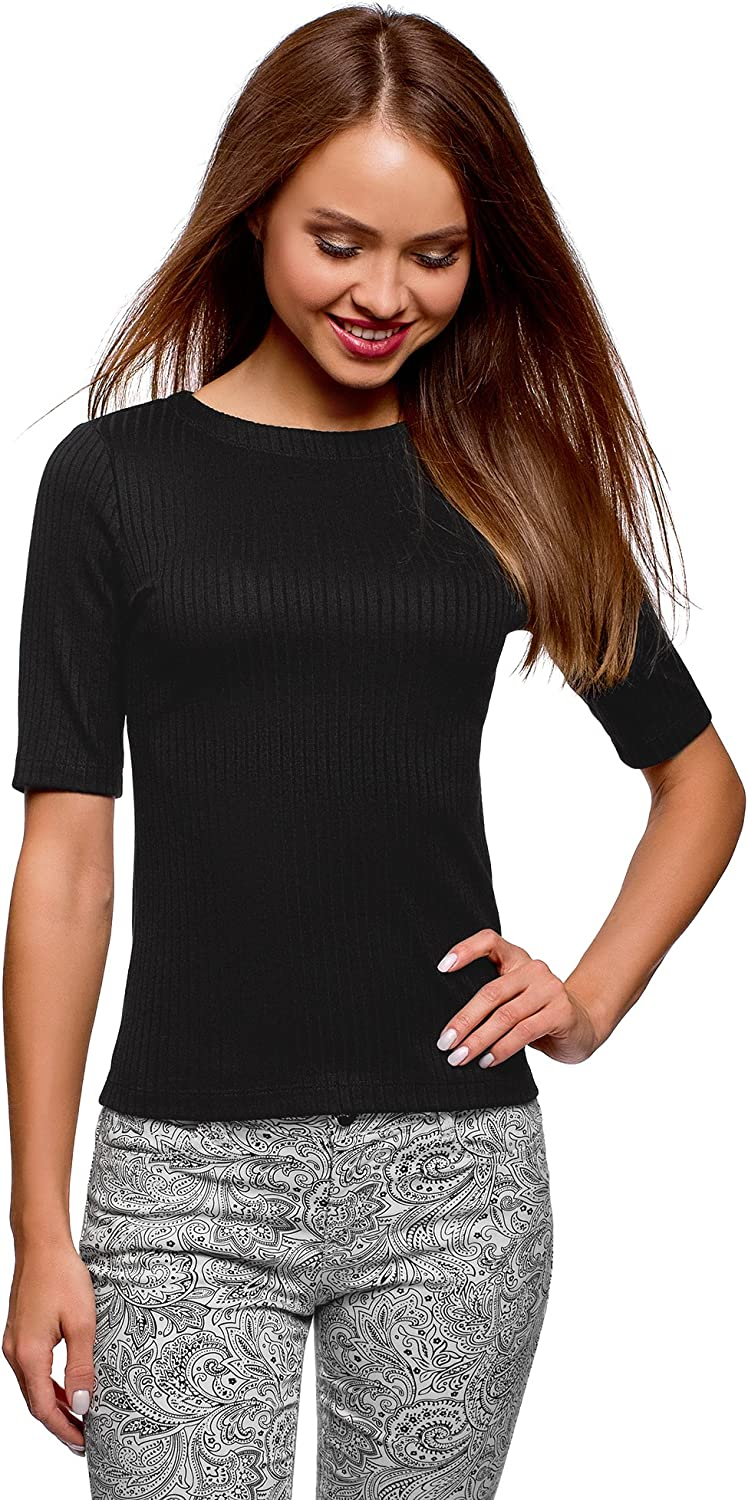 oodji Ultra Women's Crew Neck Ribbed Pullover