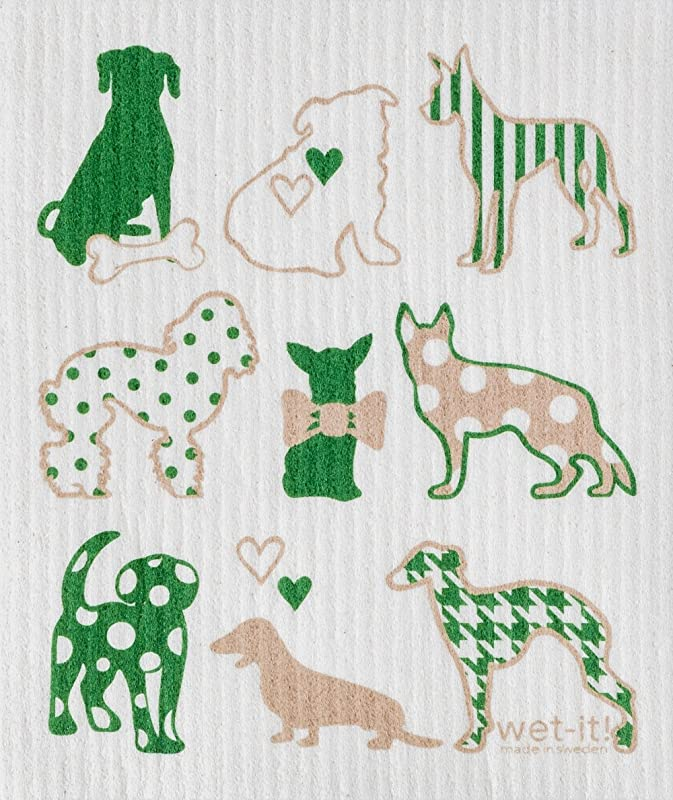Wet It Cleaning Cloth Dog Lover In Green Super Absorbent Reusable Biodegradable