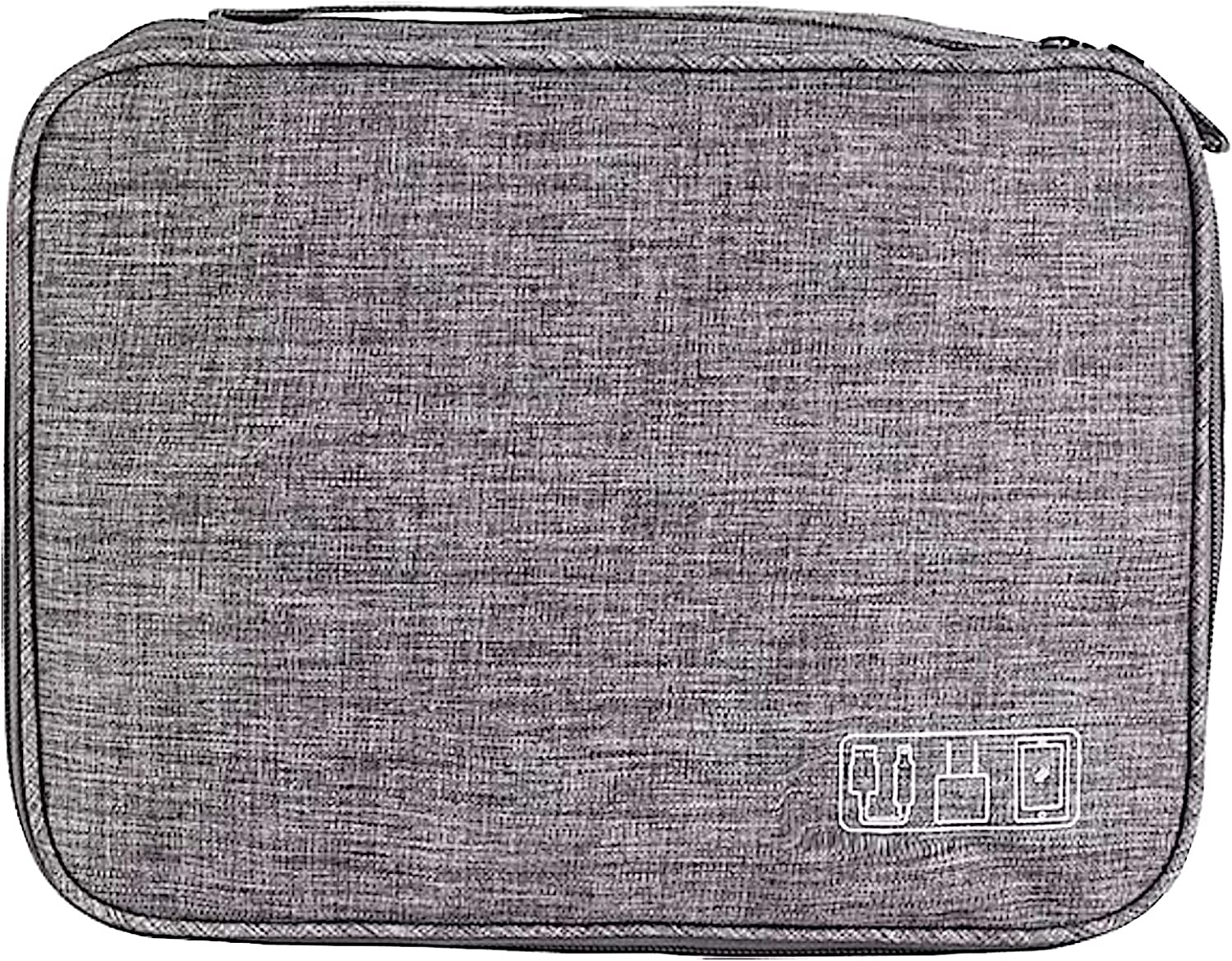 Electronics Organizer, Yanz Electronic Accessories Double Layer Travel Cable Organizer Cord Storage Bag for Cables, iPad Mini,Power Bank, USB Flash Drive and More Gray