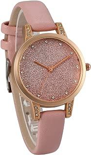 JewelryWe Men Women Watches Luxury Simple Shinny Starry Sky Watch Leather Wristwatch Quartz Bracelet Watch