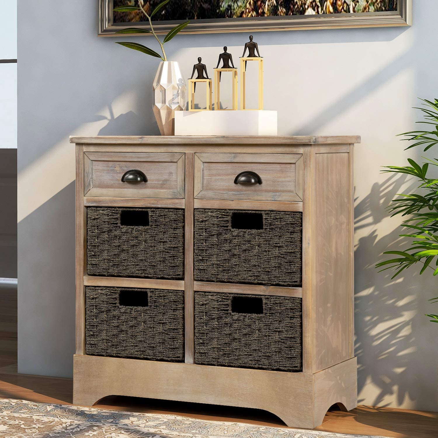Storage 受注生産品 Cabinet with 2 Drawers and 数量限定アウトレット最安価格 4 Baskest for Fabric Entryway