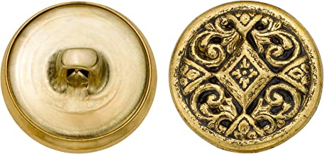 product image for C&C Metal Products 5349 Filigree Metal Button, Size 30 Ligne, Antique Gold, 36-Pack