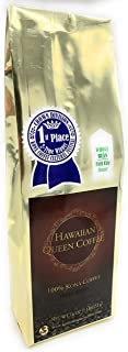 Hawaiian Queen Coffee - 100% Kona Coffee - Private Reserve Whole Beans Full City Roast - 1 Lb