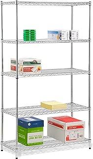Honey-Can-Do SHF-01441 Adjustable Storage Shelving Unit, 800-Pounds Per Shelf, Chrome, 5-Tier, 42Lx18Wx72H