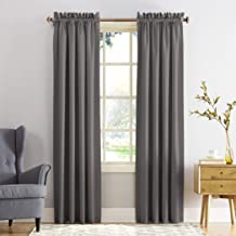 "Sun Zero Barrow Energy Efficient Rod Pocket Curtain Panel,Steel Gray,54"" x 84"""