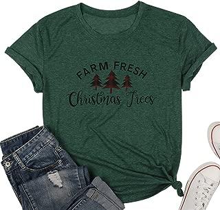 Farm Fresh Christmas Tree Shirt Women Plaid Christmas Tree Graphic Print Short Sleeve T Shirt Top