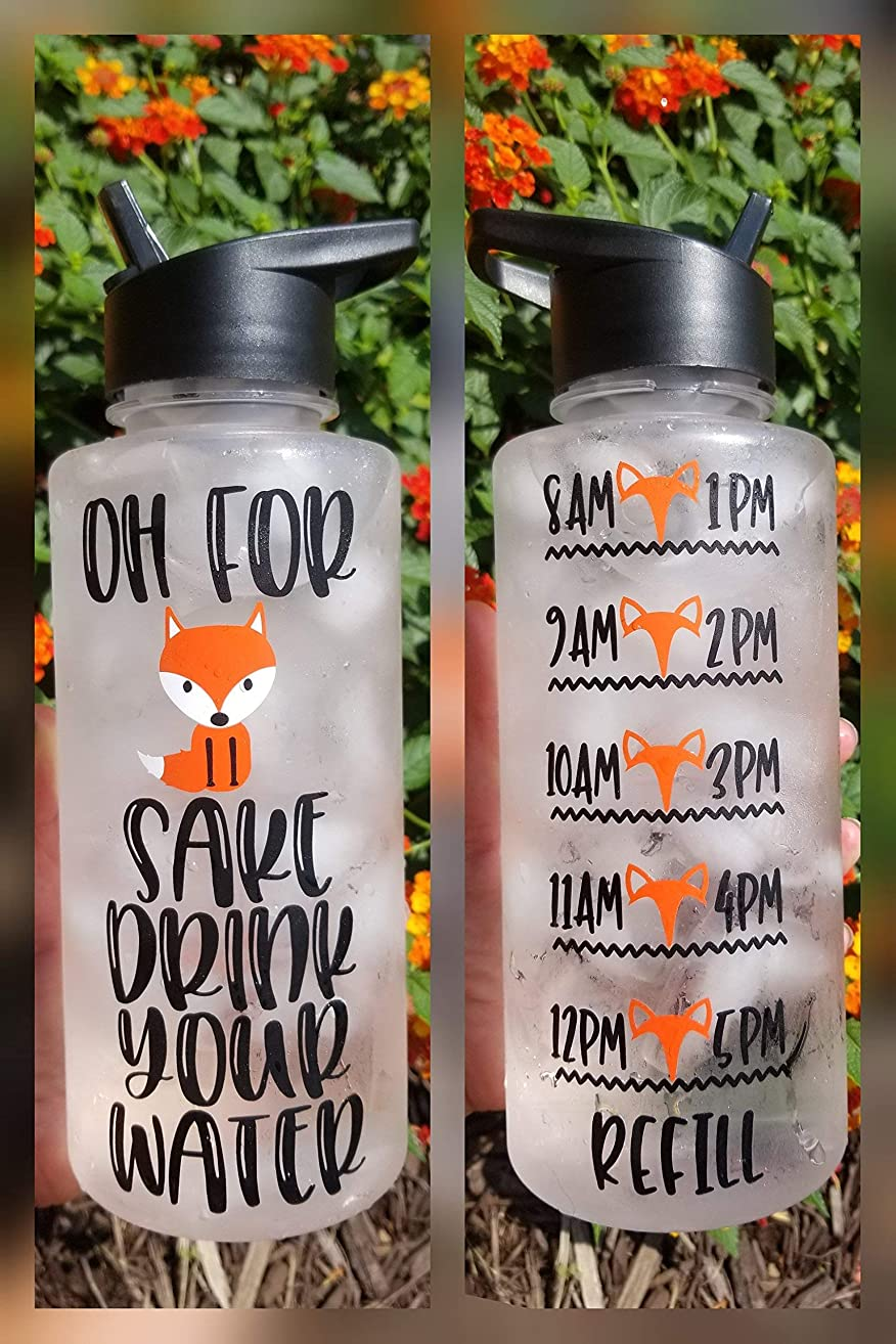 Oh For Fox Sake Water Bottle 32oz with Flip-up Straw