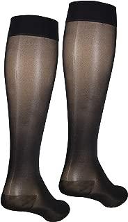NuVein Sheer Compression Stockings Fashion Silky Sheen Denier Knee High, Black, XXX-Large