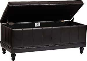 First Hill Girard Storage Bench with Faux-Leather Upholstery, Midnight Bark