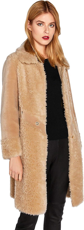 Women's Lamb Shearling Long Jacket Camel Lapel Real Fur Coat SmartUniverseWear (Camel, X-Small)