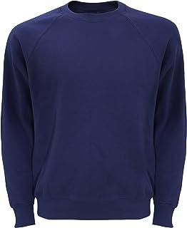 Geeney Mens Fleece Jumper Round Crew Neck Long Sleeve Cotton Raglan Sweatshirt Classic Work Wear Sweater Cardigan Top