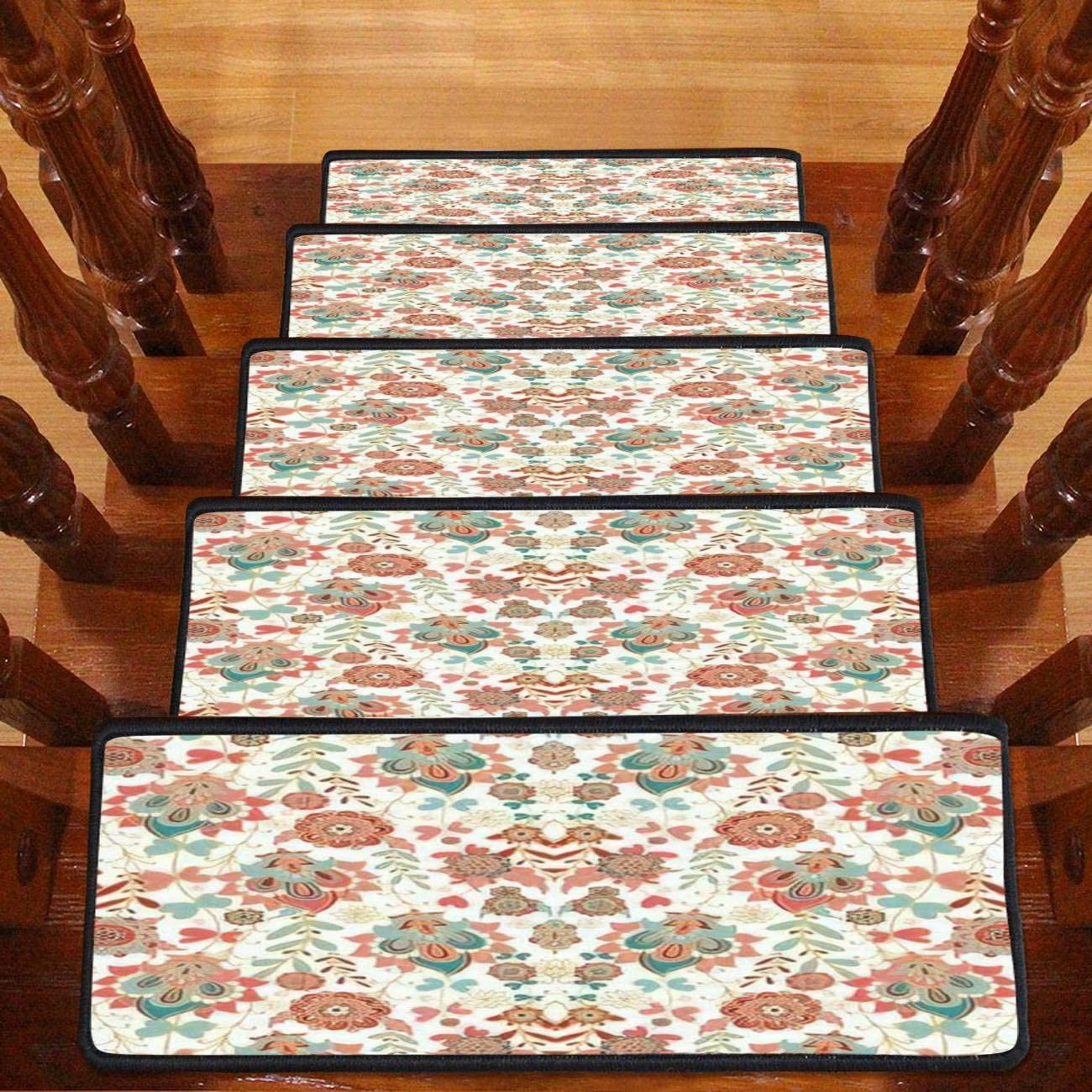 Paisley Floral Pattern with Decorative Stair New Super intense SALE popularity Trea Carpet Flowers