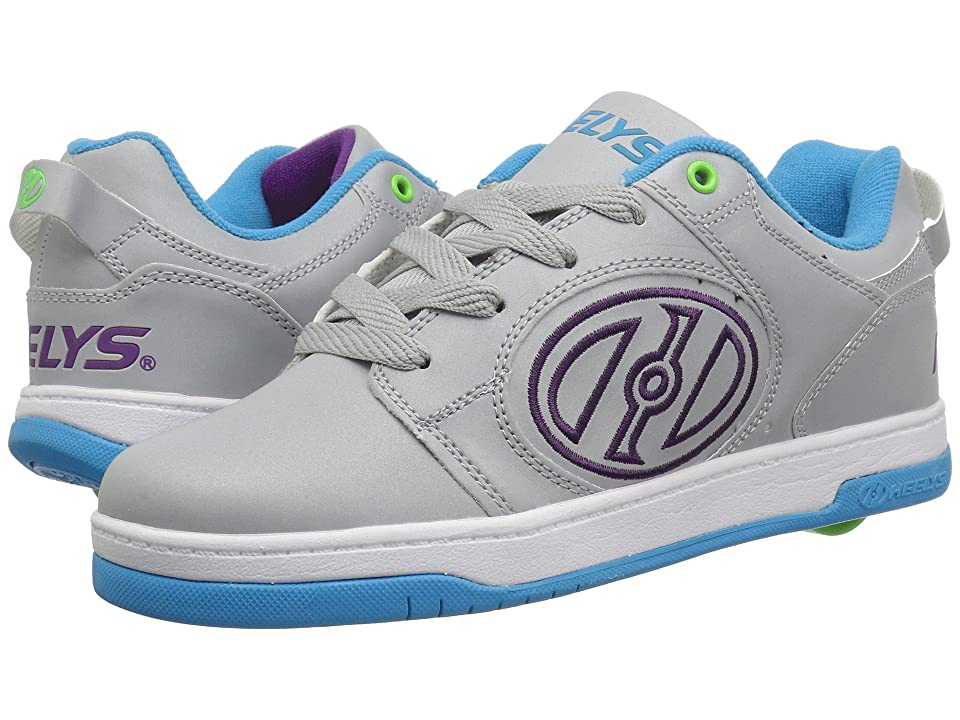 Heelys Voyager (Little Kid/Big Kid/Adult) (Grey Reflective/Cyan/Grape) Girls Shoes