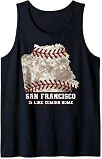 San Francisco Map Baseball Ball Distressed Texture Tank Top