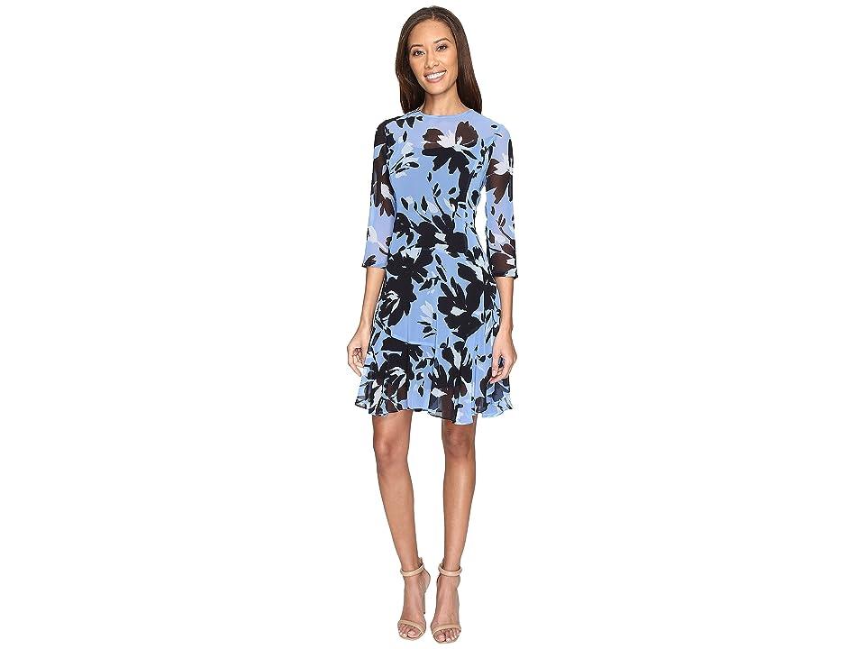 Donna Morgan 3/4 Sleeve Aline Poly Chiffon Dress with Circle Flounce (Hydrangea Blue/Marine Navy Multi) Women