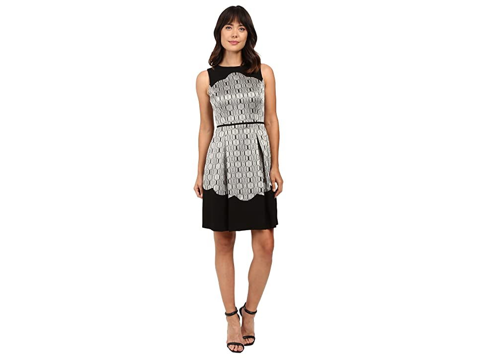 Tahari by ASL Metallic Sleeveless Fit and Flare with Scallop Detail (Black/Gold/Silver) Women