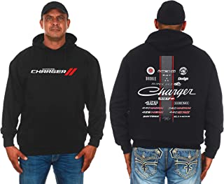 JH DESIGN GROUP Men's Dodge Charger 2-Sided Pullover Hoodie Collage Logos Design