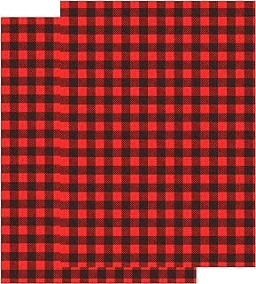 Aneco 18 x 12 Inch Cloth Fabric Buffalo Plaid Black and Red Plaid Adhesive Heat Transfer Sheets, 2 Sheet