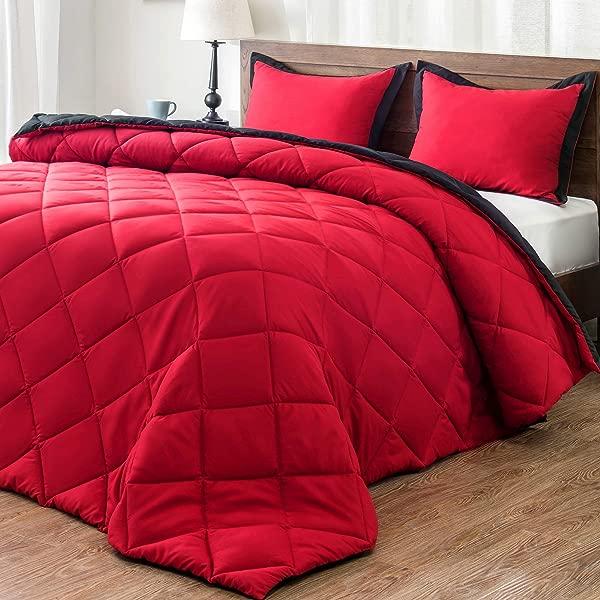 Downluxe 轻量级固体被子设置女王与 2 枕套 3 件套红色和黑色羽绒替代可逆被子
