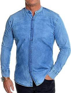 Men's Denim Shirt Grandad Collar Slim Fit Blue Washed Out Lightweight Cotton
