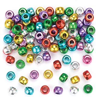 Baker Ross Metallic Pony Beads Value Pack— Ideal for Jewelry , Bracelet, Necklace and Keychain-Making, Kids' Arts and Crafts, Gifts, and More (Pack of 300)