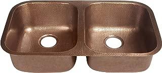 Sinkology SK205-32AC Kandinsky Undermount Handmade Pure Solid Double Bowl Kitchen Sink, 32-1/4
