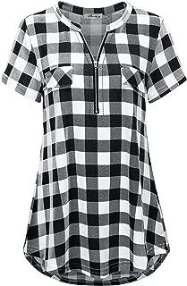 Finice Women's Zip V Neck Short Sleeve/Sleeveless Casual Plaid Shirt