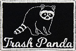 Raccoon = Trash Panda Patch Iron On Applique - White, Black - 3