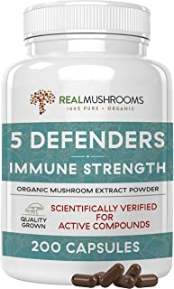 Real Mushrooms 5 Defenders Mushroom Supplements for Immune Support (200ct) Promote Better Overall Wellbeing w/ Chaga, Shii...