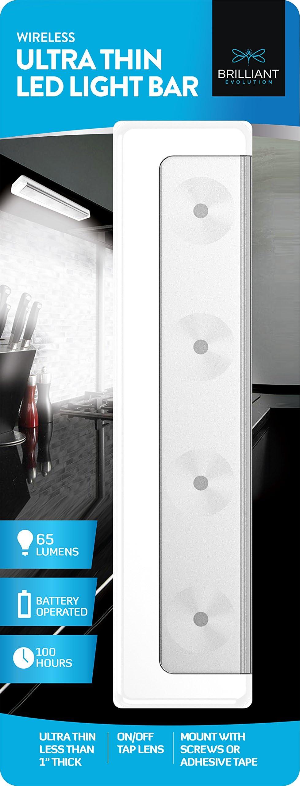 Brilliant Evolution Wireless Ultra Thin LED Light Bar 1 Pack | Battery Operated Lights | Kitchen Under Cabinet Lighting | Closet Light |Touch Light |Stick On Lights | Push Light | Wireless Light