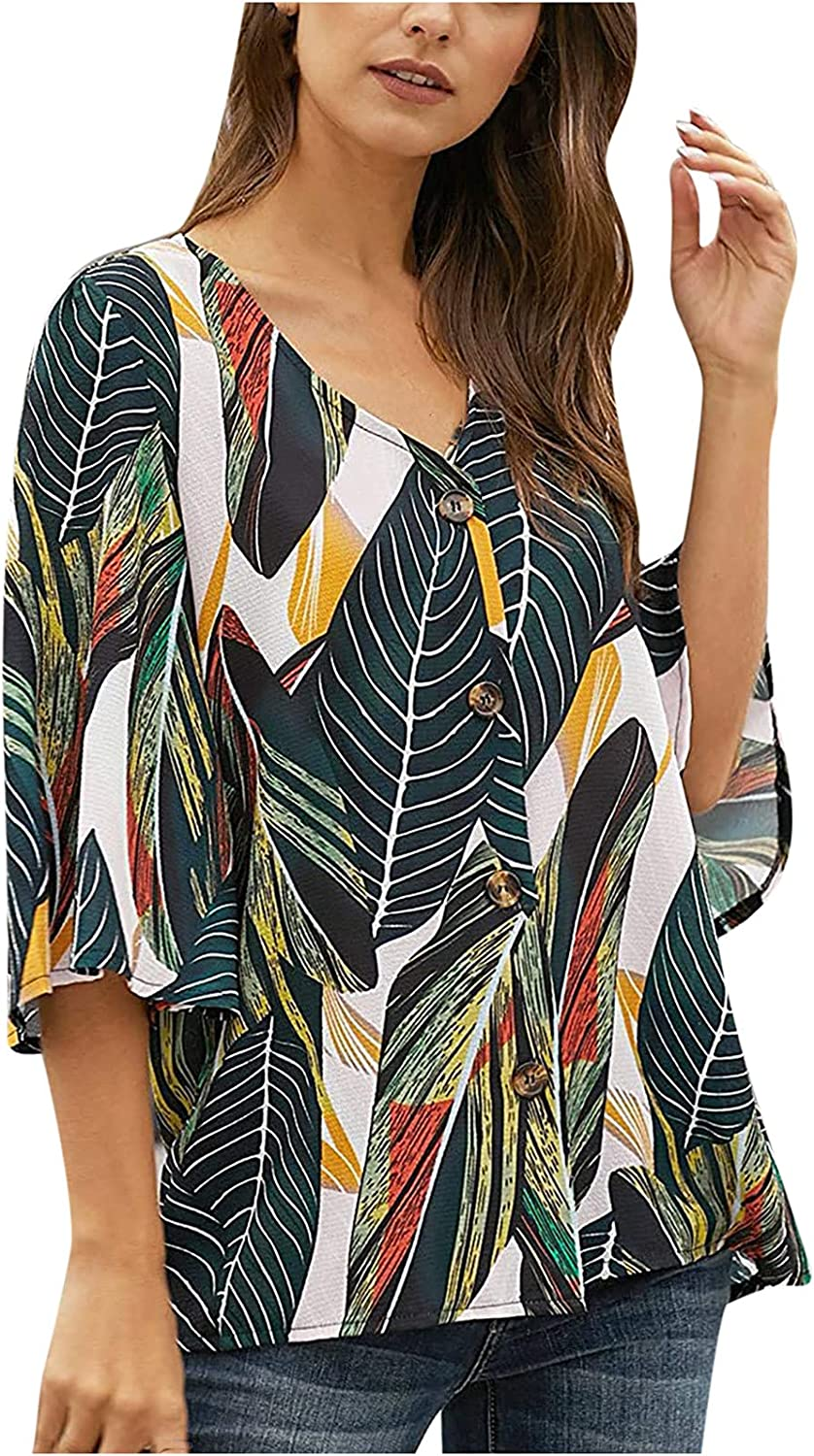 Women's Print Blouse Casual 3/4 Tiered Bell Sleeve V Neck Print Button Down Loose Tops Blouses Shirt
