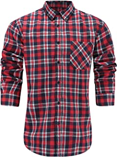 Men's Slim Fit Casual Flannel Cotton Long Sleeve Plaid Button Up Dress Shirt