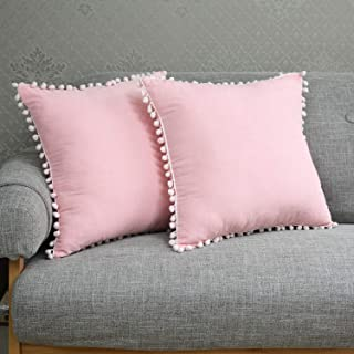 Soffta Pompom Euro Sham Covers 26 x 26 Inch Throw Pillow Covers Pack of 2 Vintage Ethnic 100% Washed Cotton Throw Pillows Cushion Cover Pink