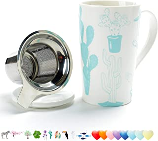 TEANAGOO M58-9 Tea Mug with Infuser and Lid, 18 OZ, Cactus, Travel Teaware with Filter, Cup Steeper Maker, Brewing Strainer for Loose Leaf Tea,Diffuser mug set for Tea Lover Gift ceramic Simple